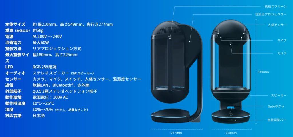 キャラクター召喚装置「Gatebox」サイズ