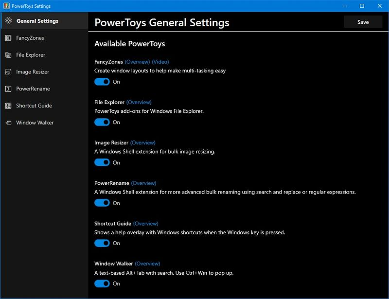 PowerToys v0.16の General Settings画面